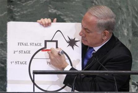 Prime Minister of Israel Netanyahu draws red line on graphic of bomb as he addresses 67th United Nations General Assembly in New York