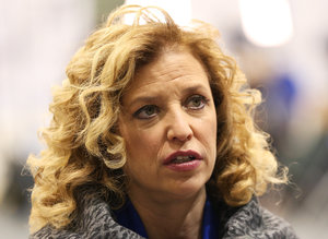 MANCHESTER, NH - DECEMBER 19: U.S. Representative Debbie Wasserman Schultz (D-FL 23rd District) and chair of the Democratic National Committee (DNC) speaks to a reporter before the democratic debate on December 19, 2015 in Manchester, New Hampshire. The DNC has been criticized for the timing of democratic debates during the 2016 presidential race. (Photo by Andrew Burton/Getty Images)